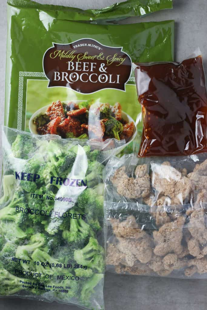 Trader Joe's Mildly Sweet and Spicy Beef and Broccoli contents of the bag open and pictured for display purposes