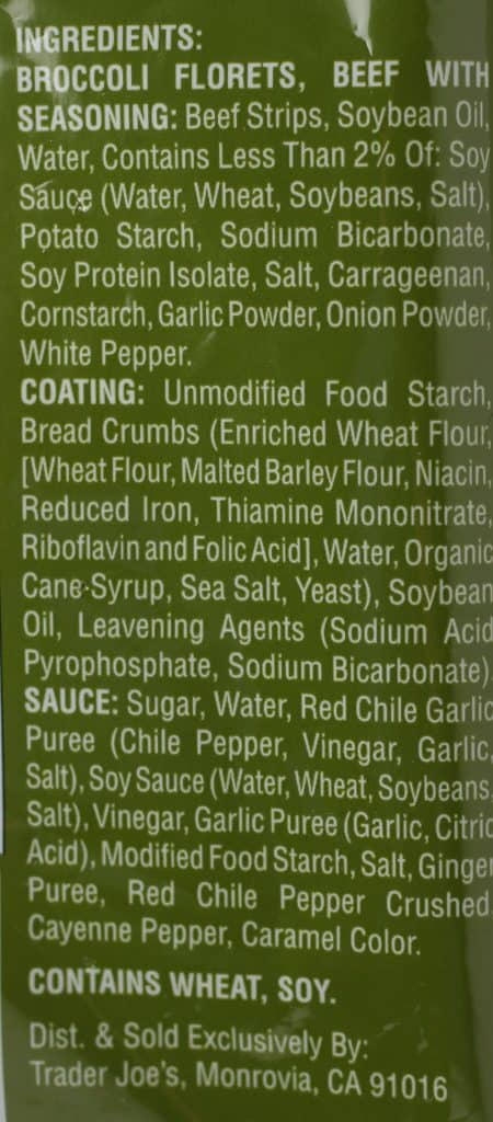 Trader Joe's Mildly Sweet and Spicy Beef and Broccoli ingredient list