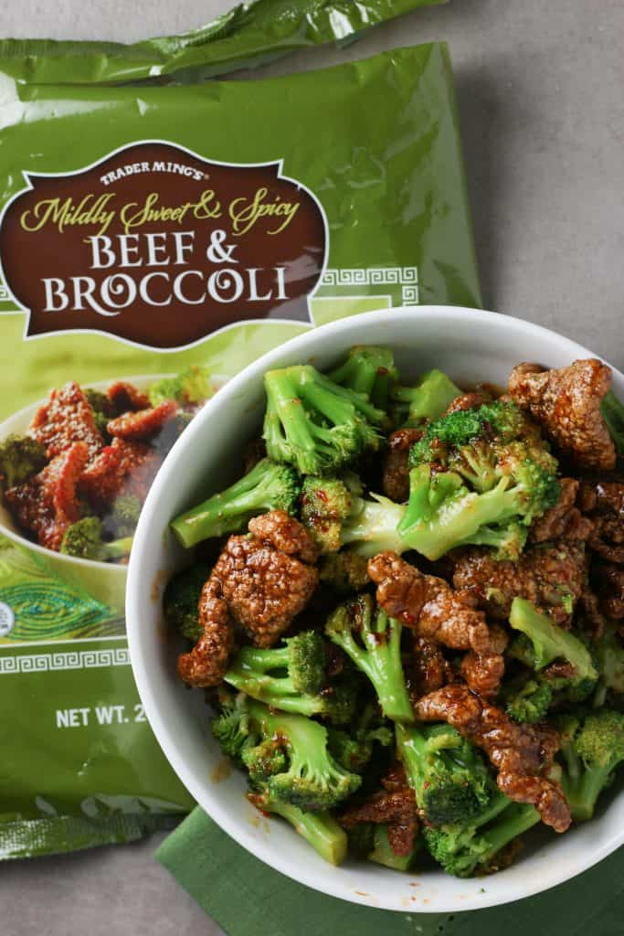 Trader Joe's Mildly Sweet and Spicy Beef and Broccoli cooked, combined and next to the original bag.