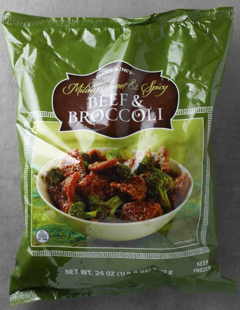 Trader Joe's Mildly Sweet and Spicy Beef and Broccoli bag as found in the freezer section
