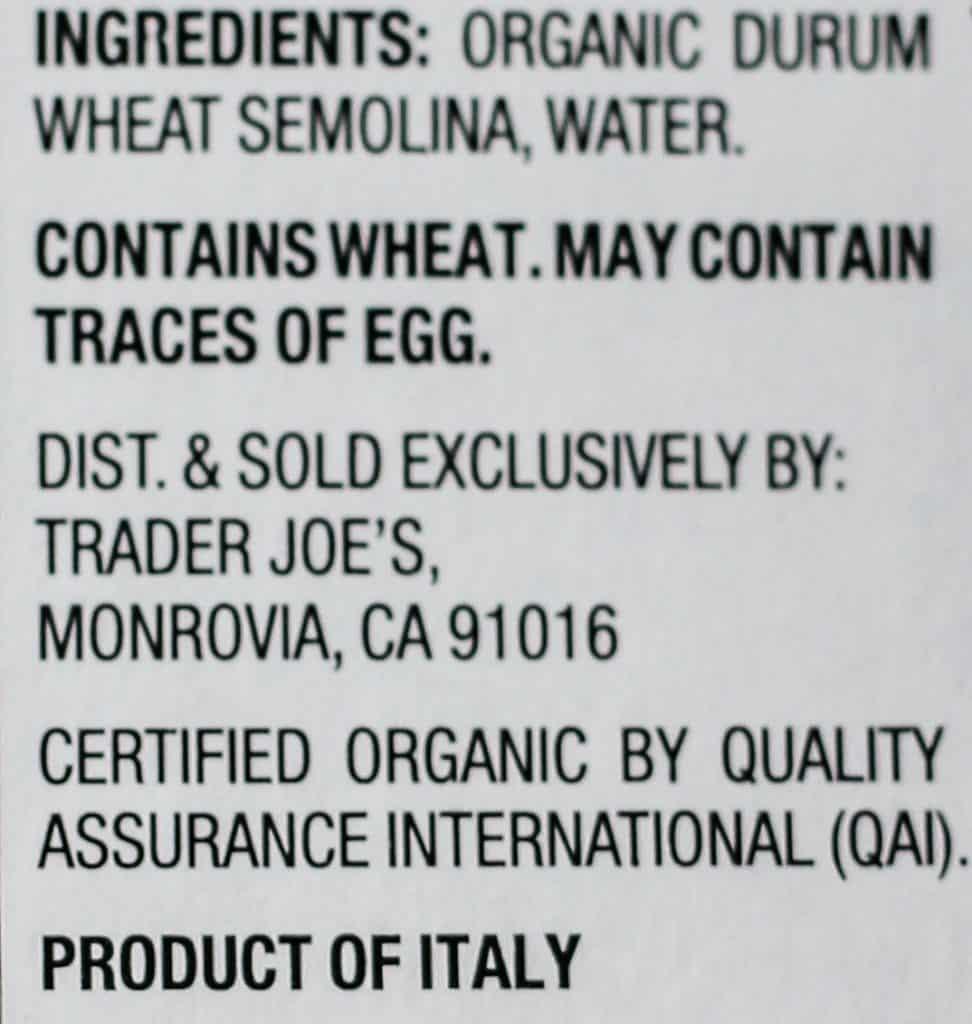 Trader Joe's Organic Italian Artisan Pasta Capunti ingredients