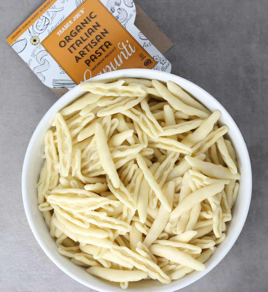 Trader Joe's Organic Italian Artisan Pasta Capunti finished and cooked
