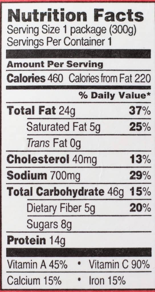 Trader Joe's Ricotta and Spinach Tortelloni with Red Pesto nutritional information