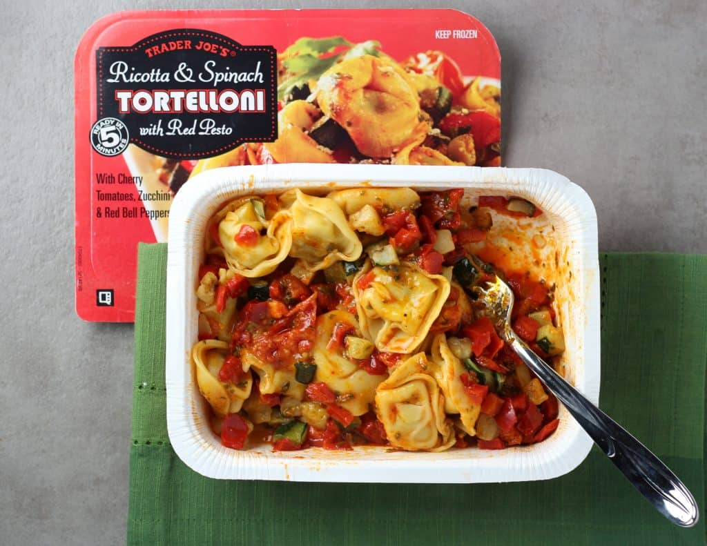 Trader Joe's Ricotta and Spinach Tortelloni with Red Pesto after being stirred