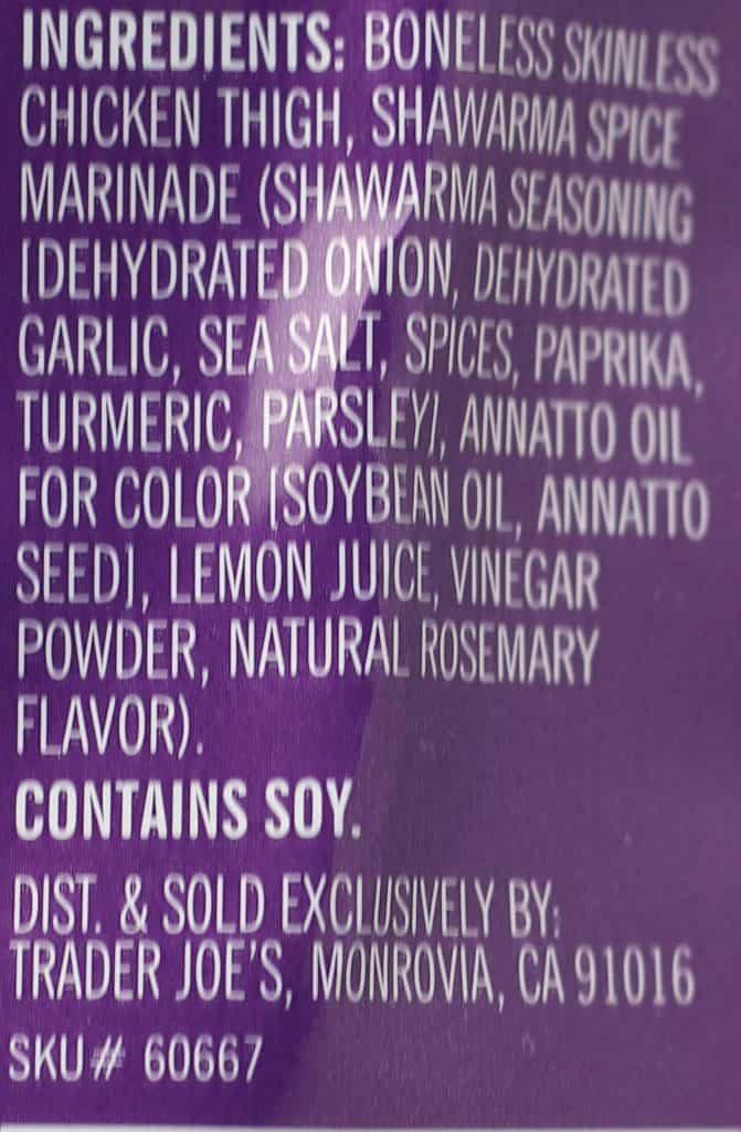 Trader Joe's Shawarma Chicken Thighs ingredients