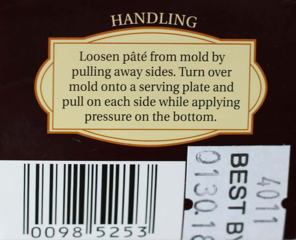 Trader Joe's Truffle Mousse Pate handling instructions