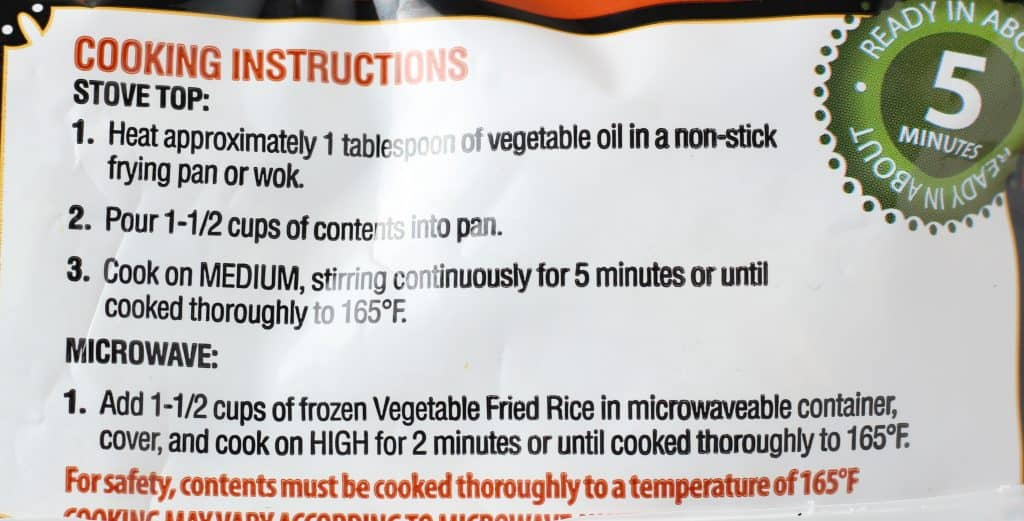 Trader Joe's Vegetable Fried Rice preparation instructions