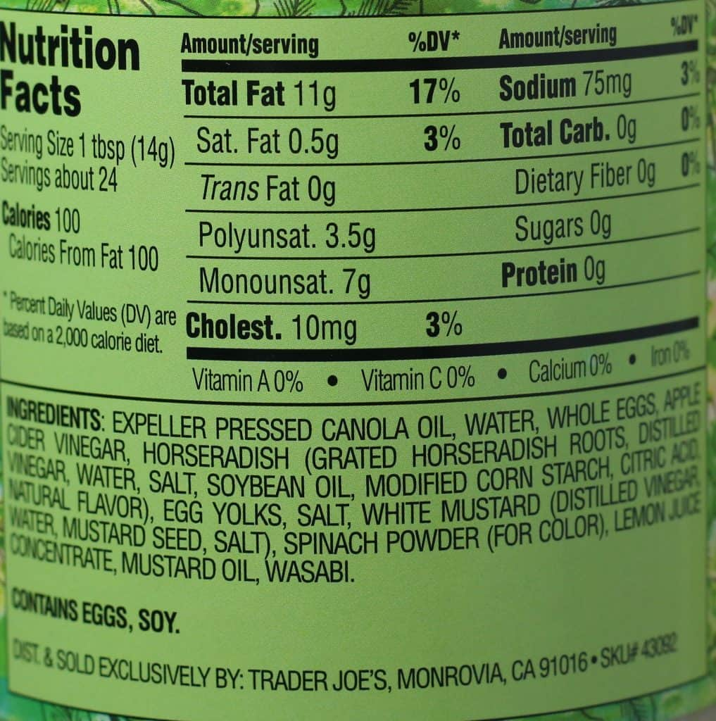Trader Joe's Wasabi Mayonnaise nutritional and ingredient information.