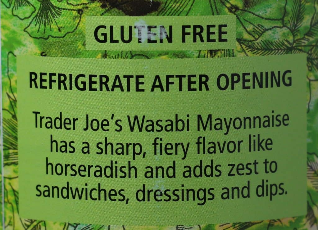 Trader Joe's Wasabi Mayonnaise description and mention of it's gluten free.