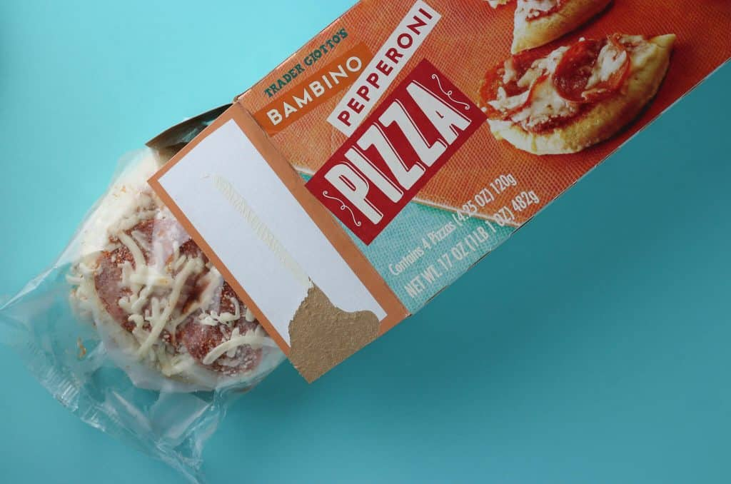Trader Joe's Bambino Pepperoni Pizza showing what you get in the box.