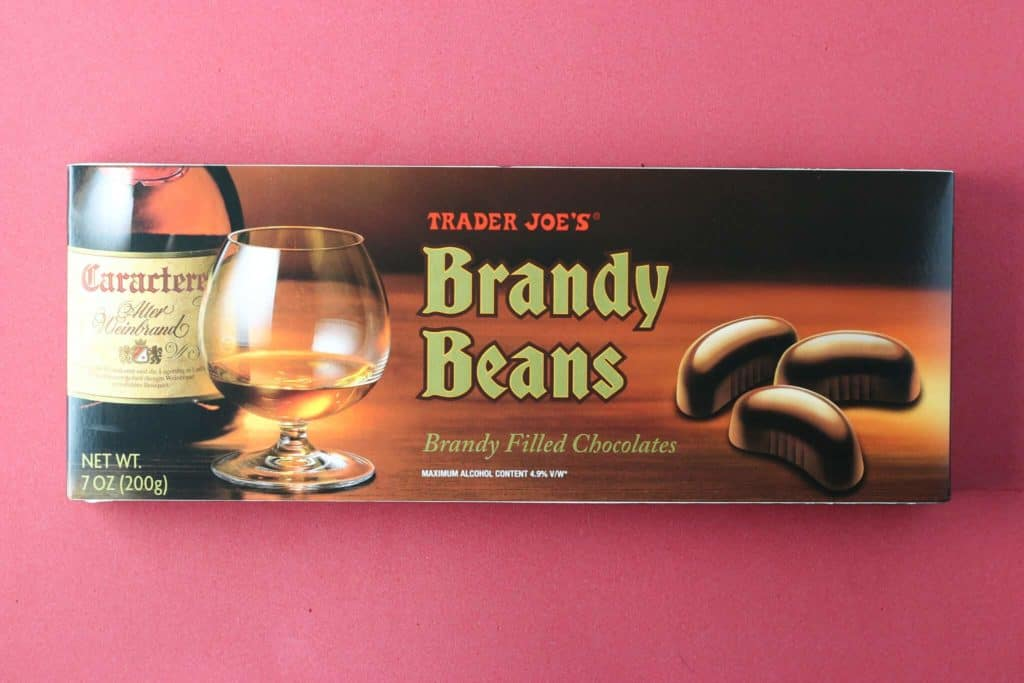 An unopened box of Trader Joe's Brandy Beans box