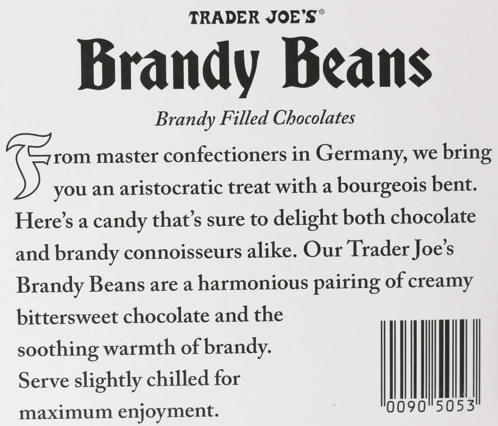 Trader Joe's Brandy Beans description of the product