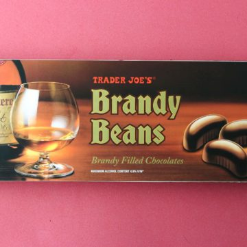 An unopened box of Trader Joe's Brandy Beans box