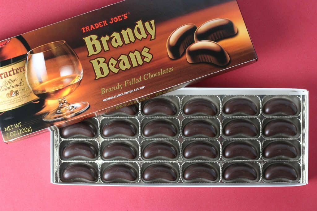 Trader Joe's Brandy Beans box opened to reveal the beans