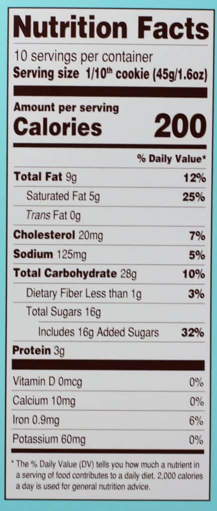 Trader Joe's Deep Dish Chocolate Chip Cookie nutritional information