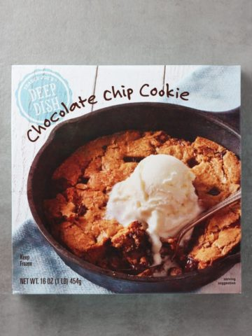 An unopened box of Trader Joe's Deep Dish Chocolate Chip Cookie box