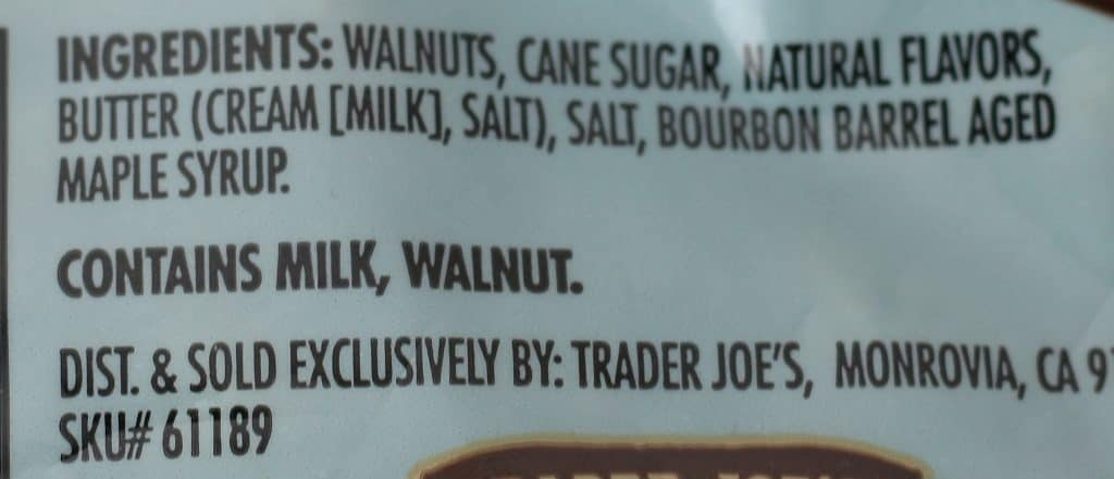 Trader Joe's Glazed Walnuts with Bourbon Barrel Aged Maple Syrup ingredients