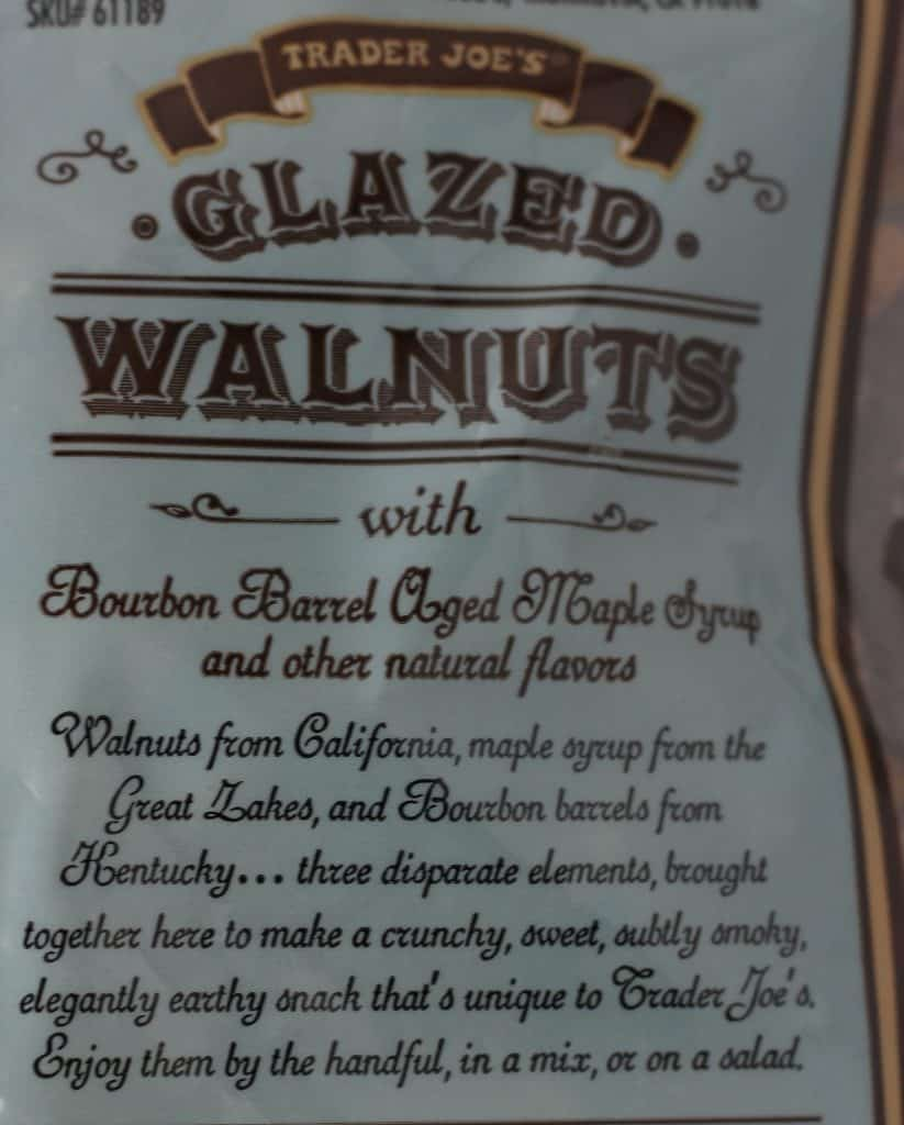 Trader Joe's Glazed Walnuts with Bourbon Barrel Aged Maple Syrup description