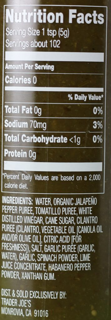 Trader Joe's Green Dragon Hot Sauce nutritional and ingredient information