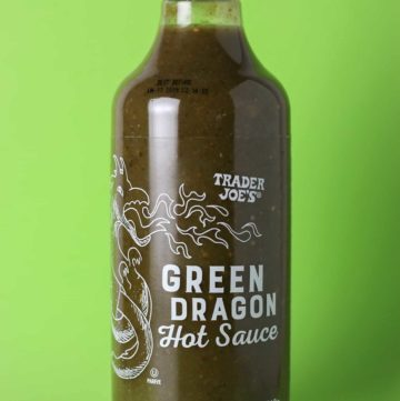 An unopened bottle of Trader Joe's Green Dragon Hot Sauce