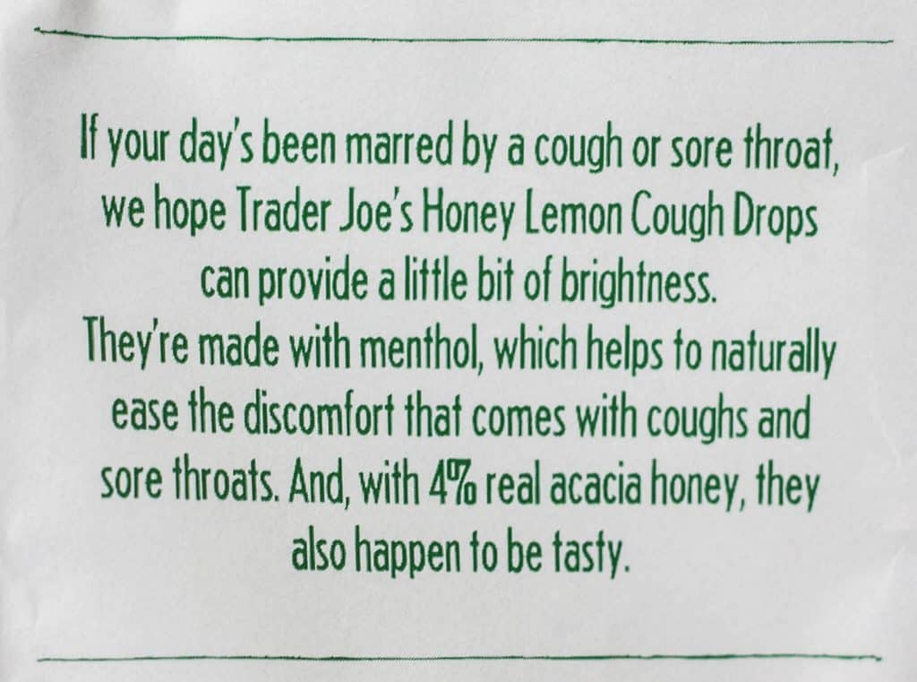 Trader Joe's Honey Lemon Cough Drops description