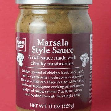An unopened jar of Trader Joe's Marsala Style Sauce jar