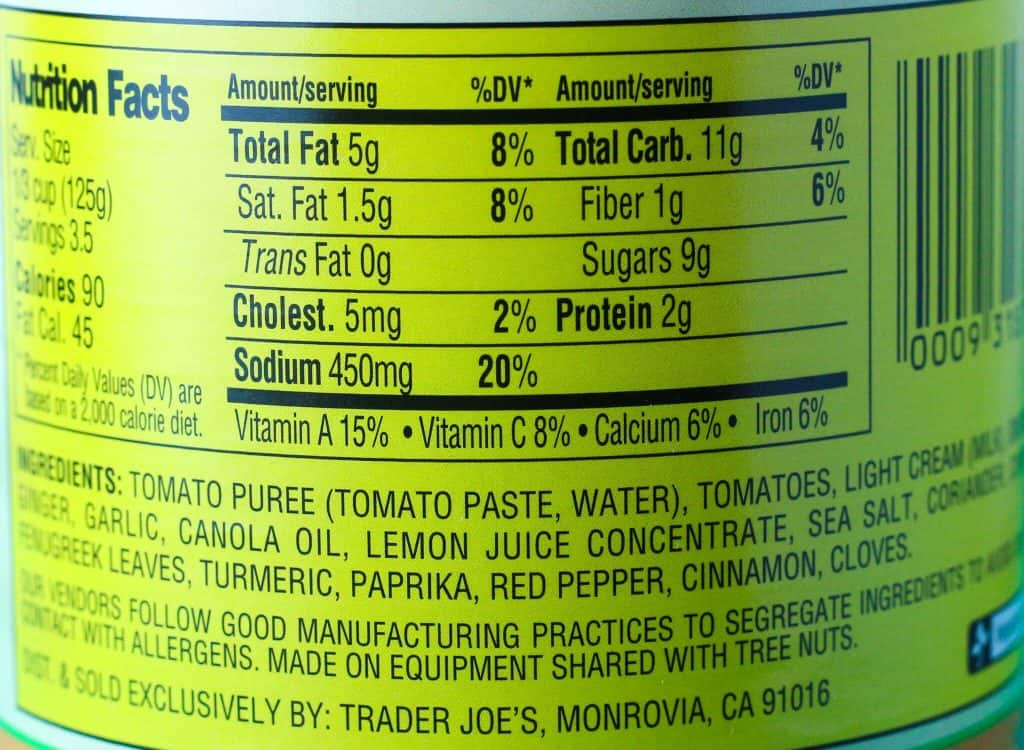 Trader Joe's Masala Simmer Sauce nutritional information and ingredients