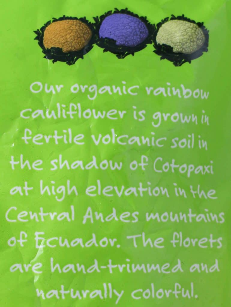 Trader Joe's Organic Rainbow Cauliflower product description
