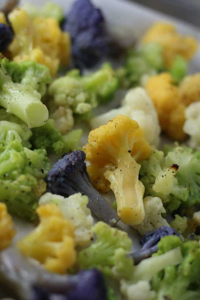 Trader Joe's Organic Rainbow Cauliflower roasted and close up