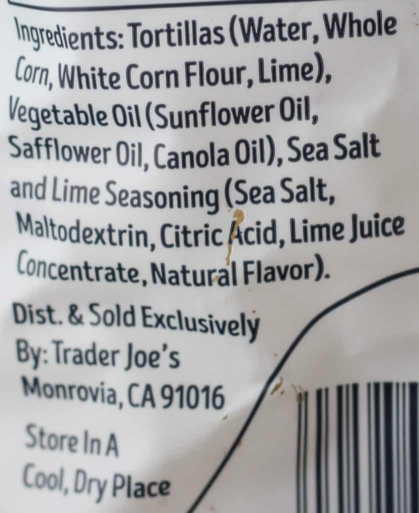 Trader Joe's Restaurant Style White Corn Tortilla Chips ingredient list