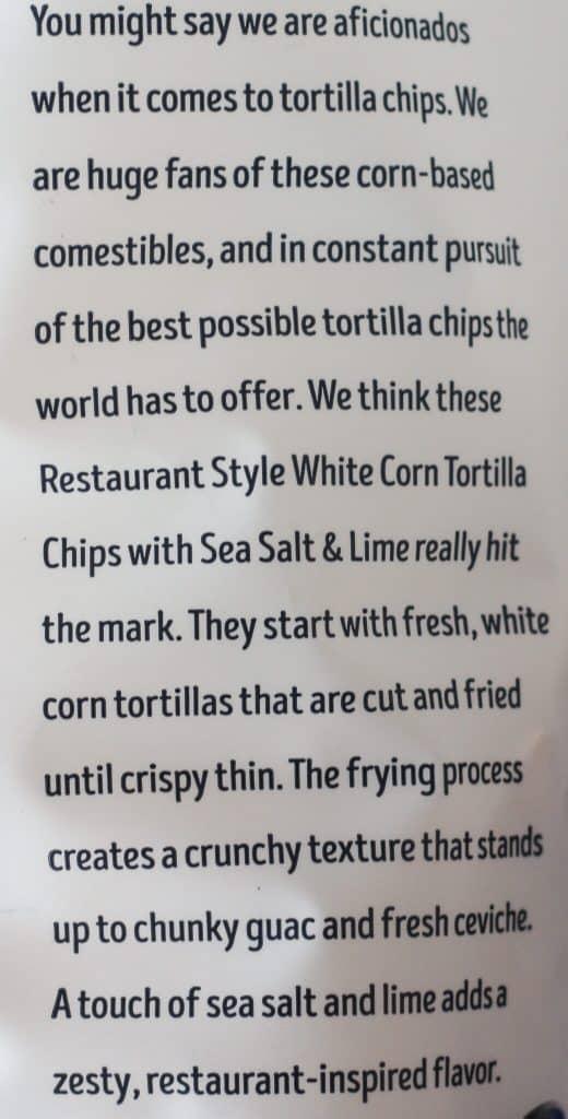 Trader Joe's Restaurant Style White Corn Tortilla Chips description