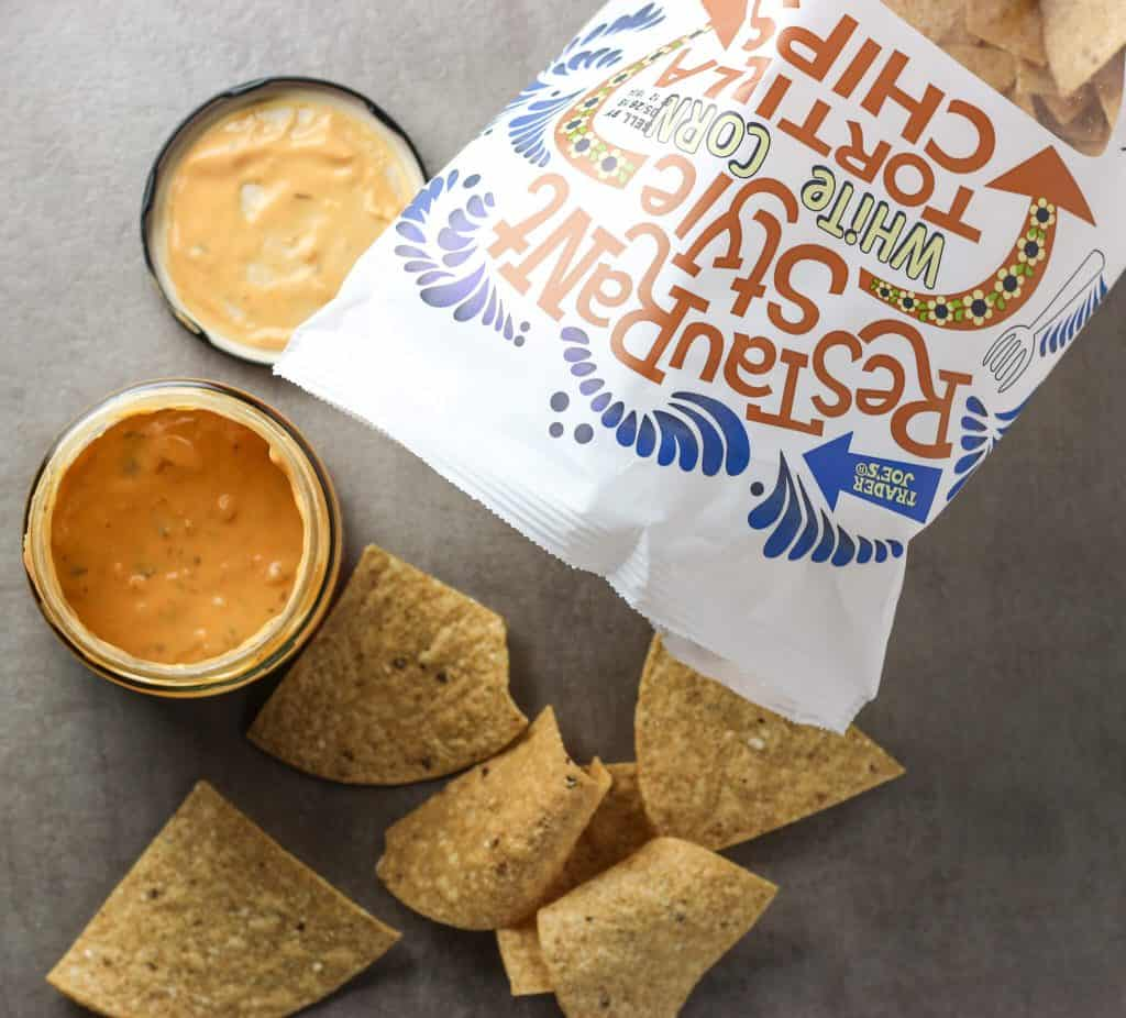 Trader Joe's Queso dip with Restaurant Sttle White Corn Tortilla Chips