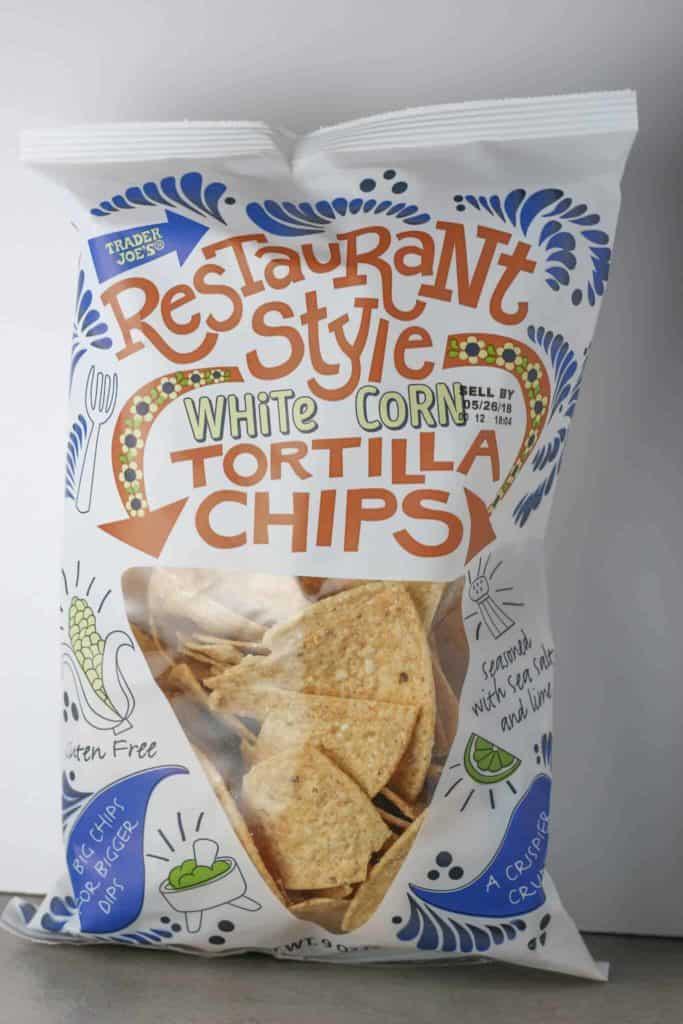 Trader Joe's Restaurant Style White Corn Tortilla Chips bag