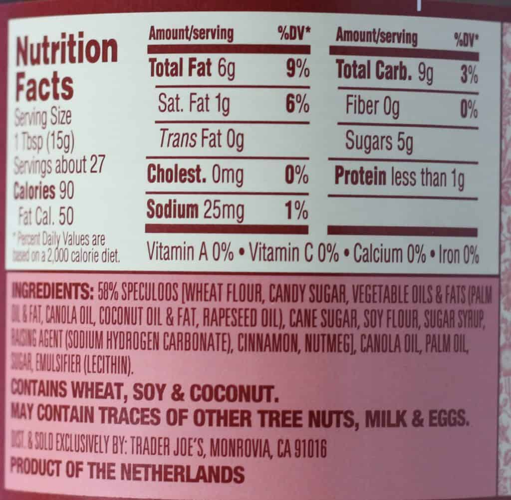 Trader Joe's Speculoos Crunchy Cookie Butter nutritional and ingredient information.