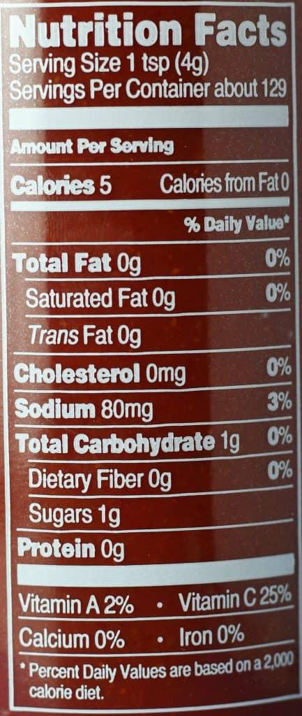 Trader Joe's Sriracha Sauce nutritional information