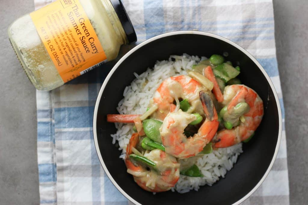 Trader Joe's Thai Green Curry Simmer Sauce with some shrimp and veggies
