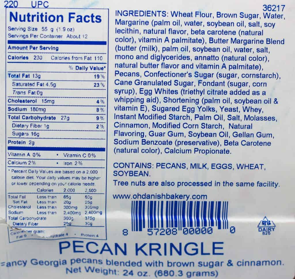 O&H Danish Bakery Pecan Kringle nutritional information and ingredients