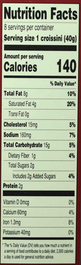Trader Joe's 27 Layer Sesame Croissini nutritional information