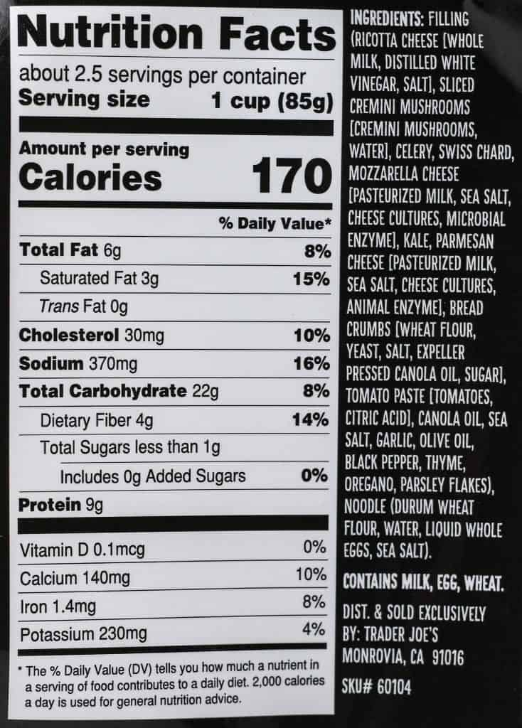 Trader Joe's 3 Cheese Vegetable Ravioli ingredients and nutritional information.