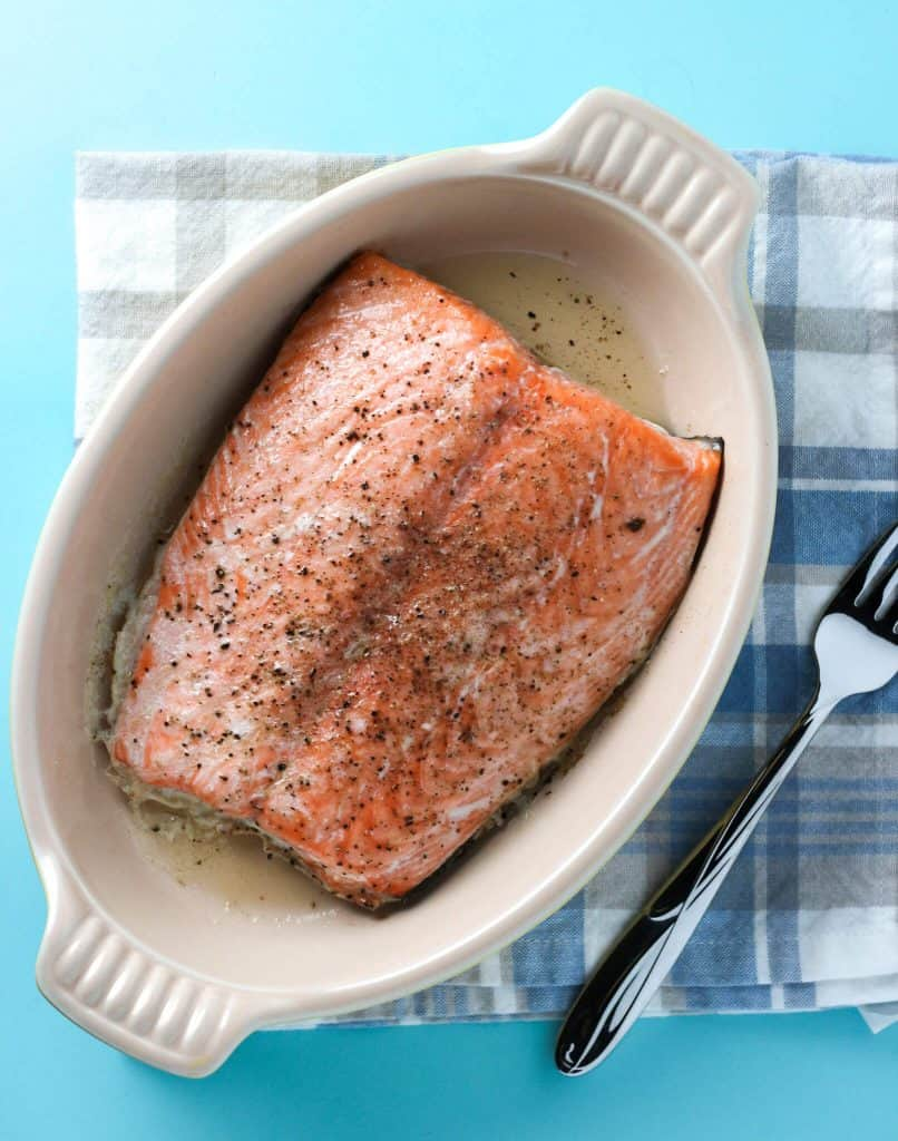 Trader Joe's Atlantic Salmon baked in a dish