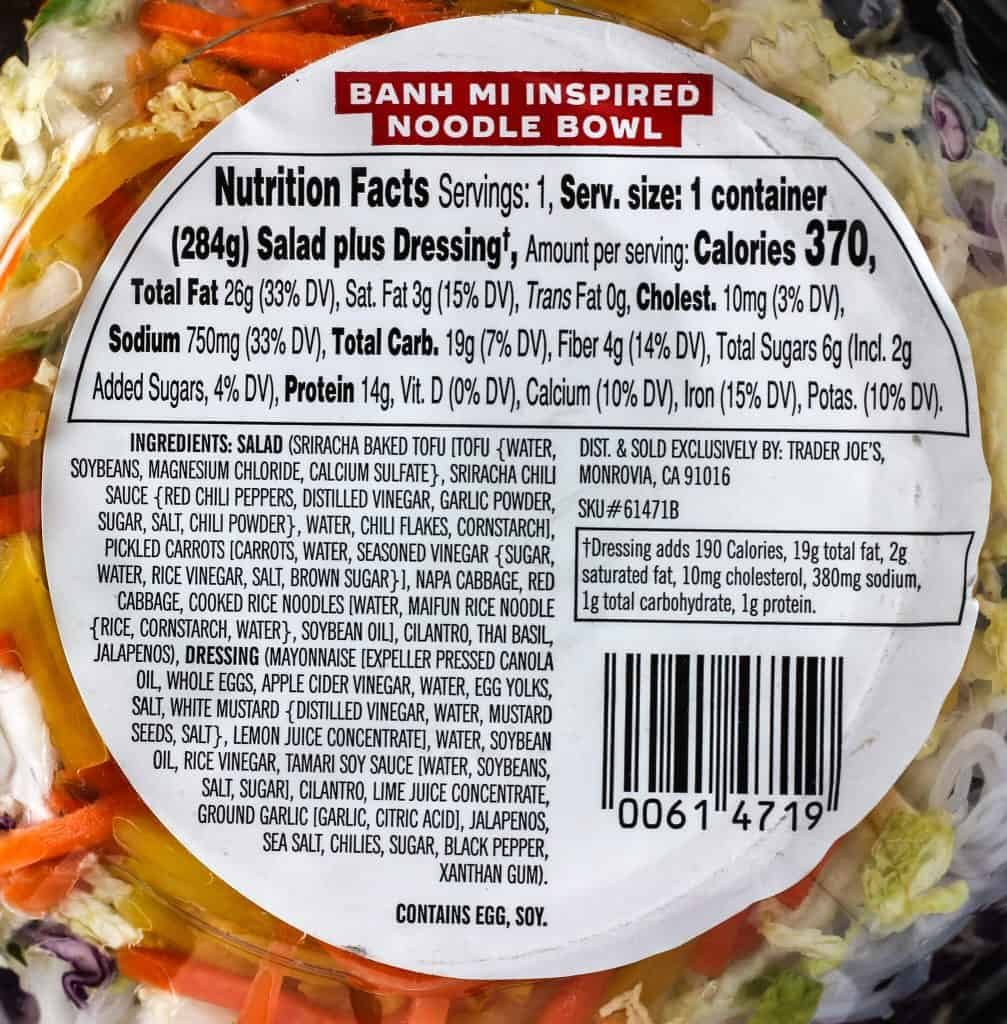 Trader Joe's Banh Mi Inspired Noodle Bowl nutritional information and ingredients