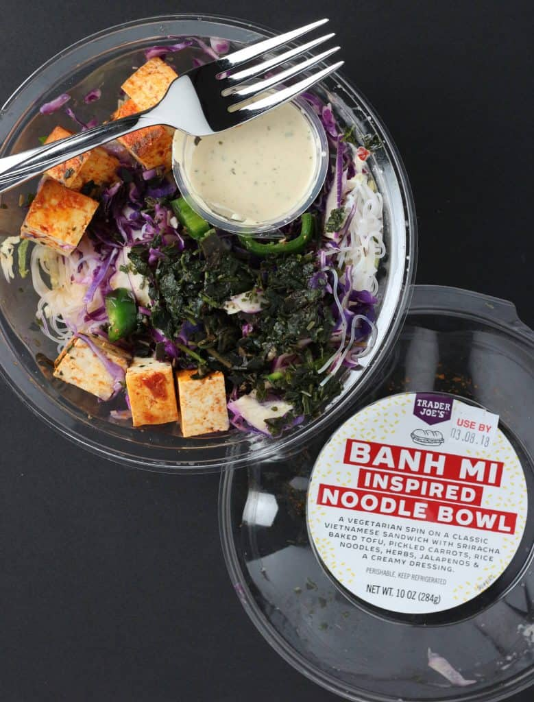 Trader Joe's Banh Mi Inspired Noodle Bowl opened to reveal contents of the container