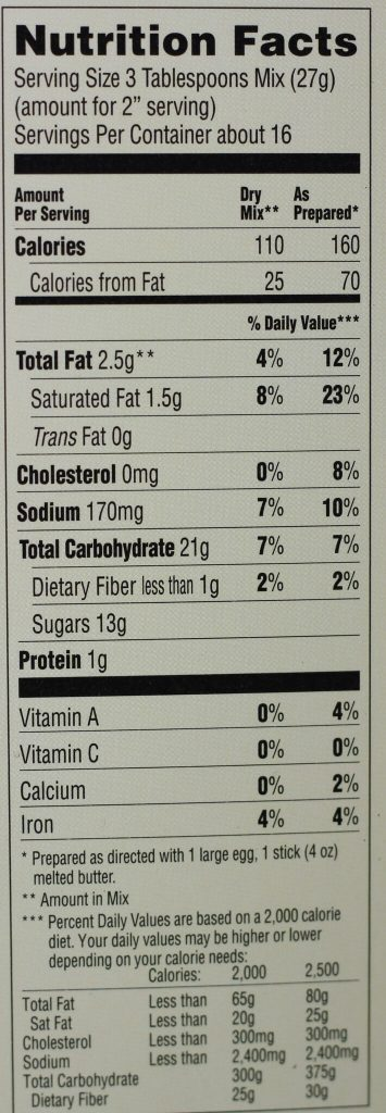 Trader Joe's Blondie Bar Baking Mix nutritional information