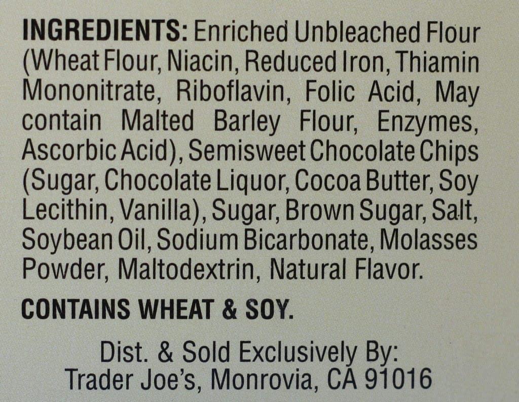 Trader Joe's Blondie Bar Baking Mix ingredient list