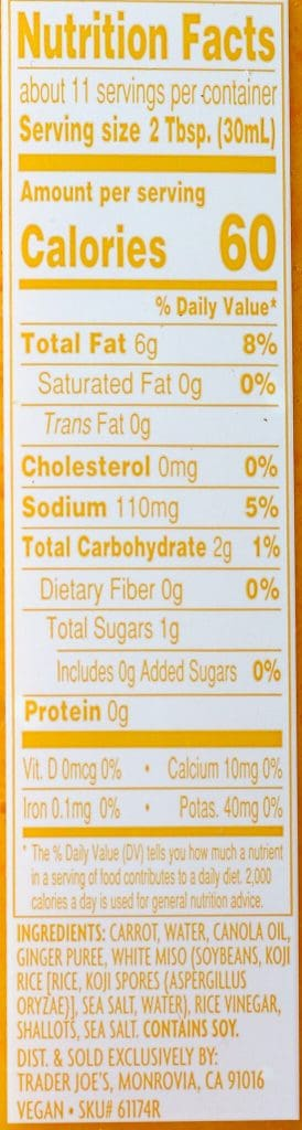 Trader Joe's Carrot Ginger Miso Salad Dressing nutritional information and ingredients