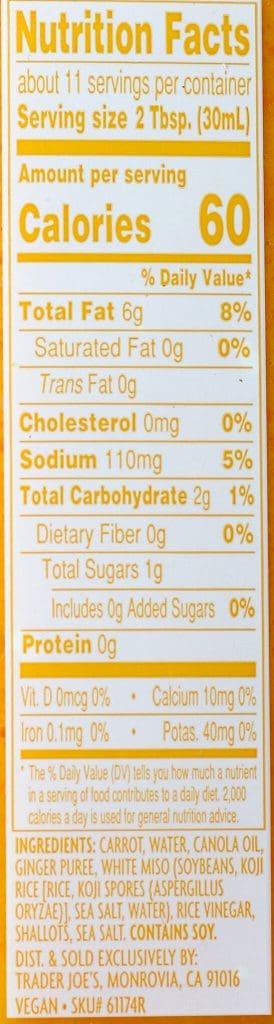 Trader Joe's Carrot Ginger Miso Salad Dressing nutritional information and ingredients