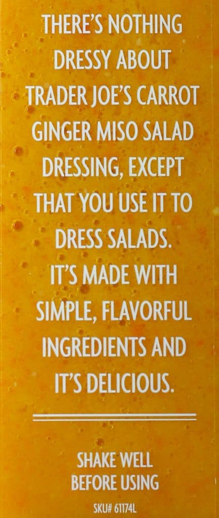 Trader Joe's Carrot Ginger Miso Salad Dressing description