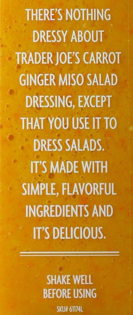 Trader Joe's Carrot Ginger Miso Salad Dressing description