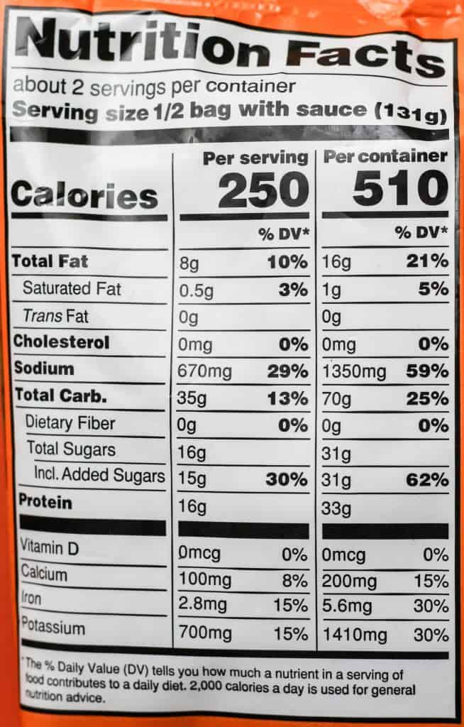 Trader Joe's Chickenless Mandarin Orange Morsels nutritional information