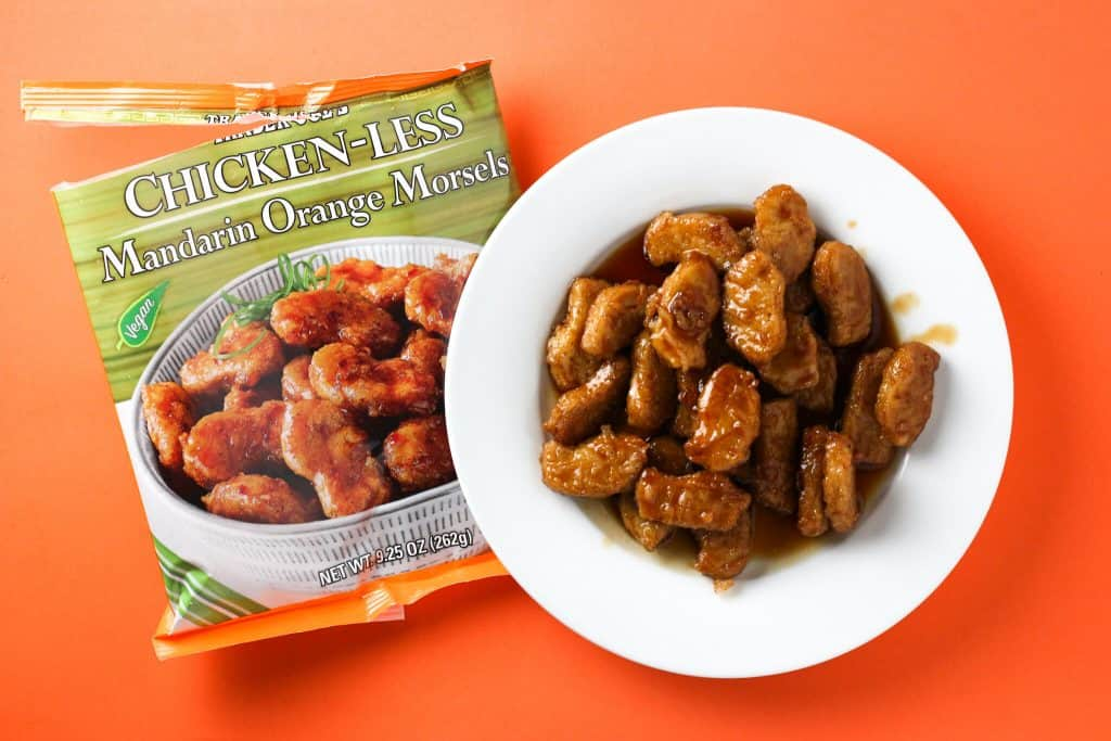 Trader Joe's Chickenless Mandarin Orange Morsels finished product on an orange background